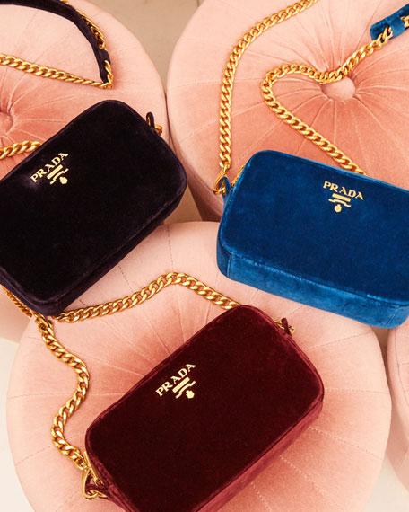 Velvet Zip-Top Chain Shoulder Bag