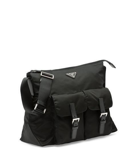 Vela Double-Pocket Messenger Bag, Black (Nero)