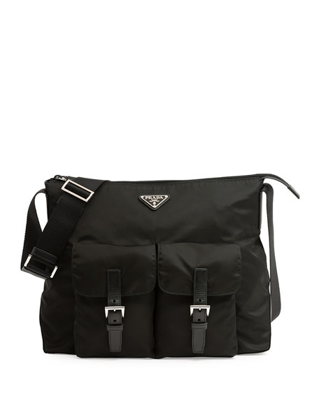 Prada Vela Double-Pocket Messenger Bag, Black (Nero)