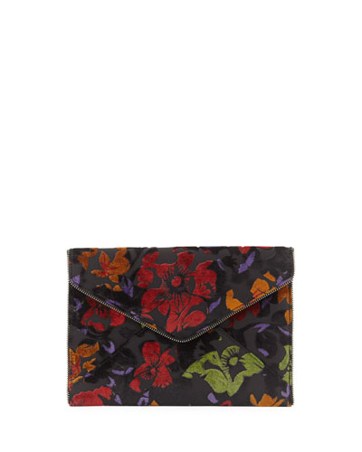 Leo Embroidered Velvet Envelope Clutch Bag