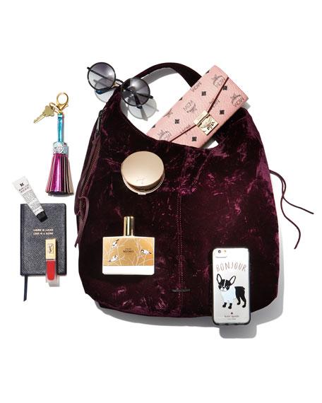 Bryn Velvet Dual-Zip Hobo Bag