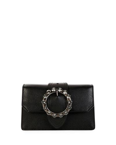 Madras Jewels Leather Buckle Clutch Bag