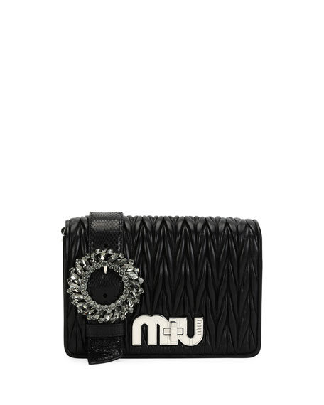 Miu Miu My Miu Small Matelasse Snake-Trim Clutch
