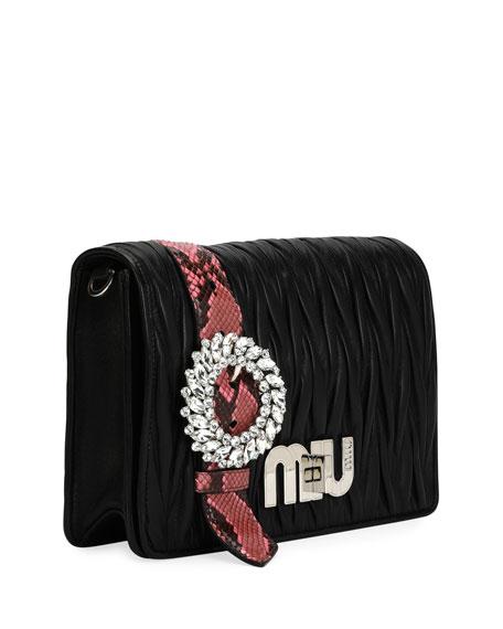 My Miu Matelasse Python-Trim Clutch Bag