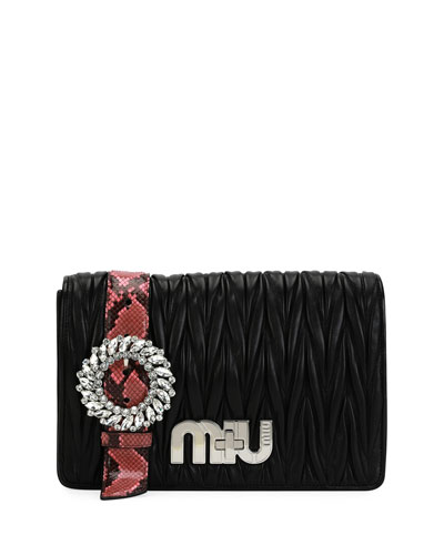 My Miu Matelasse Python-Trim Clutch Bag