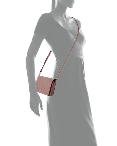 Tea Rose Embossed Crossbody Clutch Bag