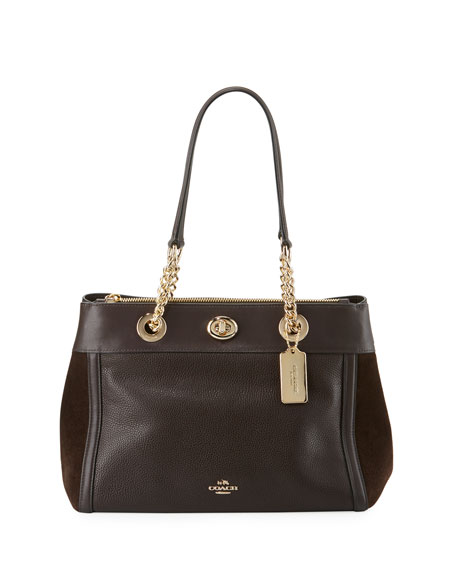 Edie Refresh Mixed Leather Chain Strap Handbag