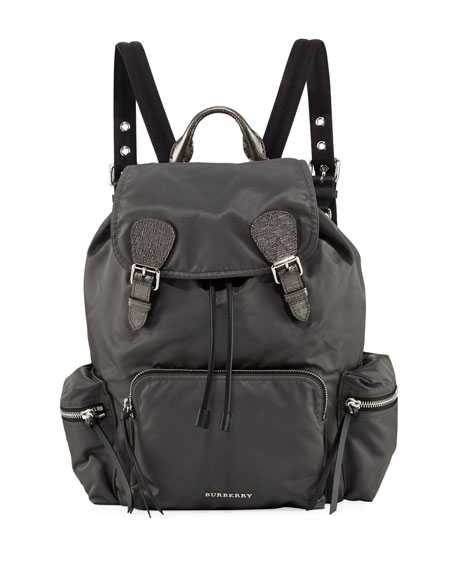 Burberry Metallic Gabardine & Leather Medium Rucksack
