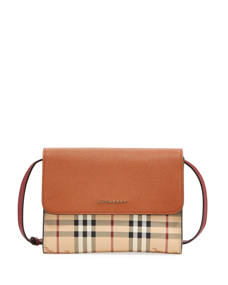 Burberry Loxley Haymarket Small Shoulder Bag, Brown Pattern