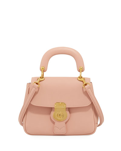 Trench Small Leather Top Handle Bag, Light Pink