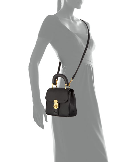 Trench Small Leather Top Handle Bag, Black