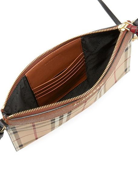 Peyton Haymarket Check Leather Clutch Bag, Tan