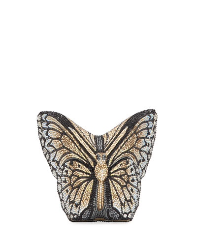 Monarch Crystal-Studded Butterfly Clutch Bag