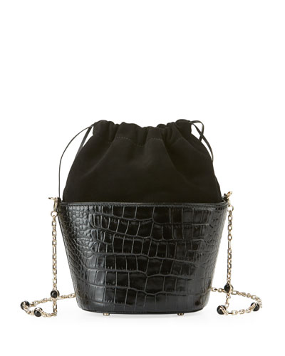 Crocodile-Embossed Bucket Bag