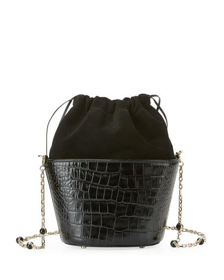 Crocodile-Embossed Bucket Bag