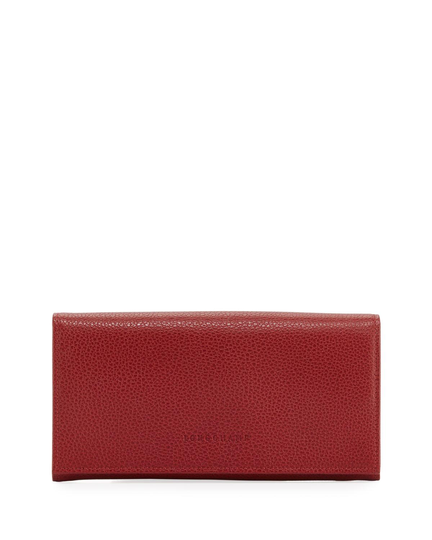 b6398291e5f5 Longchamp Le Foulonne Pebbled Leather Wallet