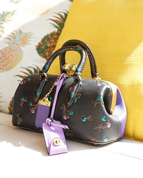 Cherries-Print Two-Tone Satchel Bag
