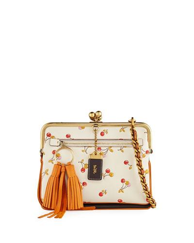 Cherry-Print Kiss-Lock Crossbody Bag