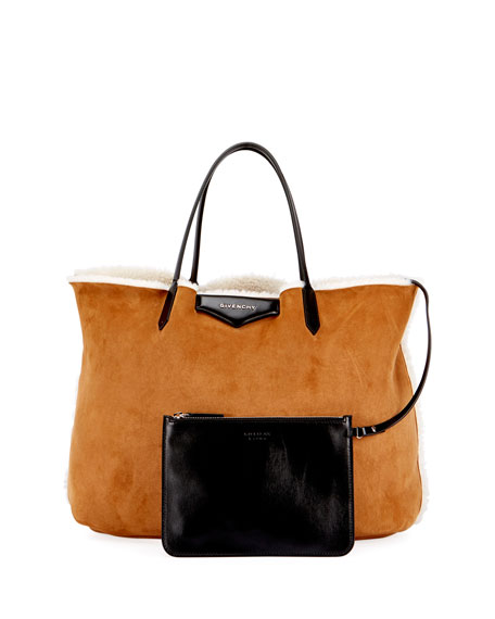 Antigona Shearling Fur Shopper Tote Bag