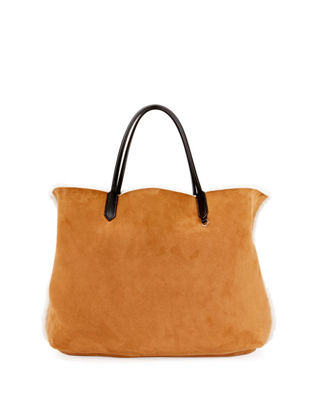Antigona Shearling Fur Shopper Tote Bag