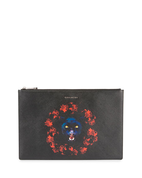 Givenchy Large Jaguar Printed Pouch Bag, Red