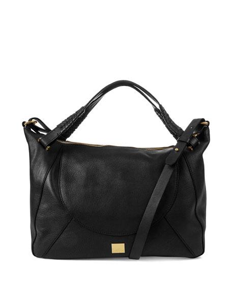 Sedona Pebbled Braided Satchel Bag, Black