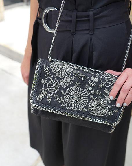 Falabella Beaded Flower Shoulder Bag, Black