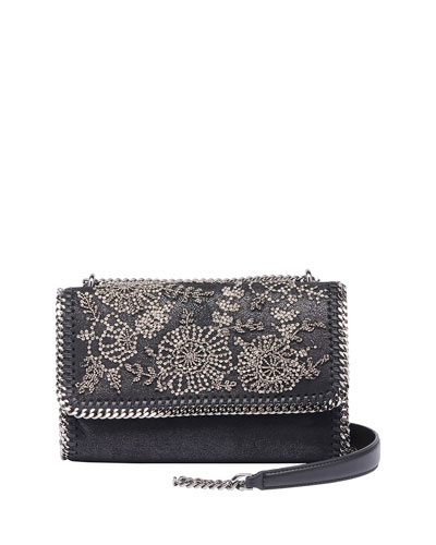 Falabella Beaded Flower Shoulder Bag, Black