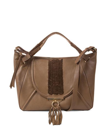 Sedona Braided Satchel Bag, Brandy