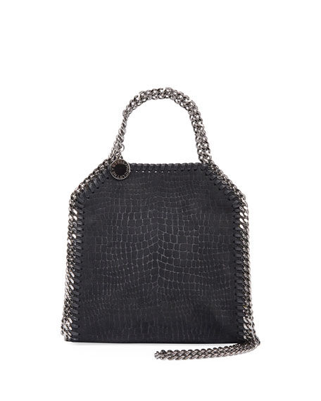 Falabella Tiny Croco Shoulder Bag, Black