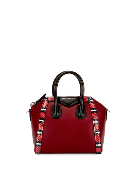Givenchy Antigona Mini Snake-Trim Satchel Bag