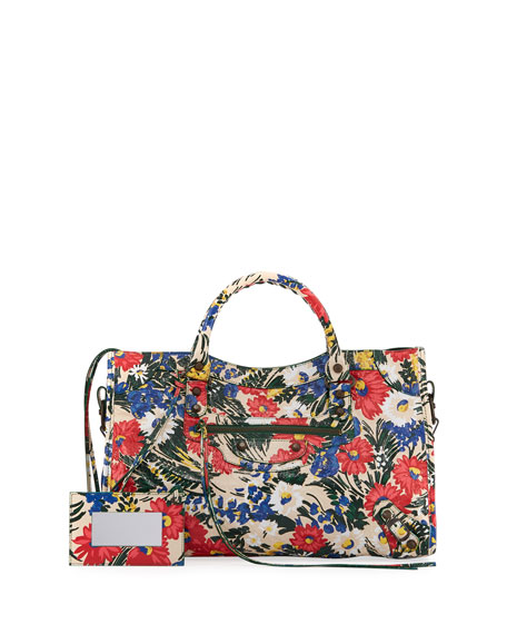 Balenciaga Classic City AJ Small Floral-Print Satchel Bag