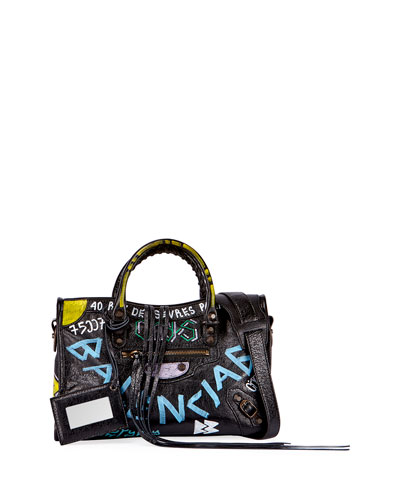 Classic City AJ Small Graffiti Satchel Bag, Black (Noir)