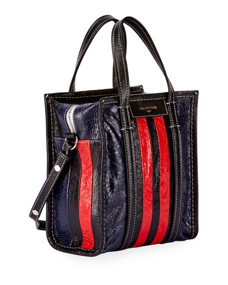 Bazar AJ Extra-Small Striped Tote Bag, Red/Black