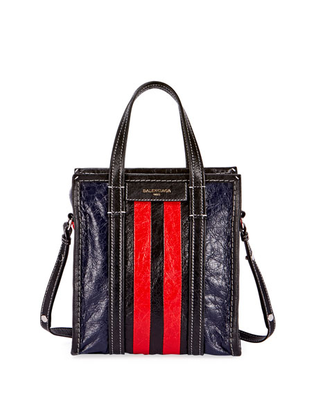 Balenciaga Bazar AJ Extra-Small Striped Tote Bag, Red/Black