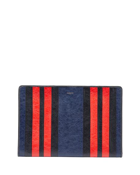 Balenciaga Bazar Striped Leather Pouch Bag, Blue/Red/Multi