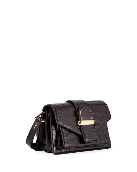 AJ Triangle Crocodile-Embossed Shoulder Bag