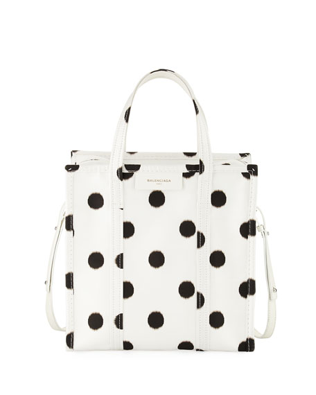 SMALL POLKA DOT BAZAR SILK SHOPPER - WHITE