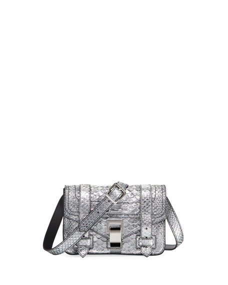 Proenza Schouler PS1+ Mini Metallic Snake-Print Crossbody Bag