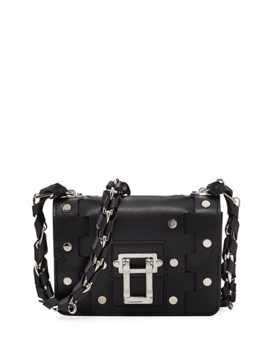Hava Chain Leather Crossbody Bag, Black