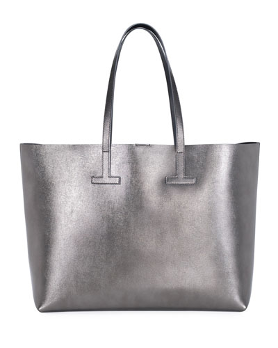 Medium T Saffiano Tote Bag, Gray Metallic