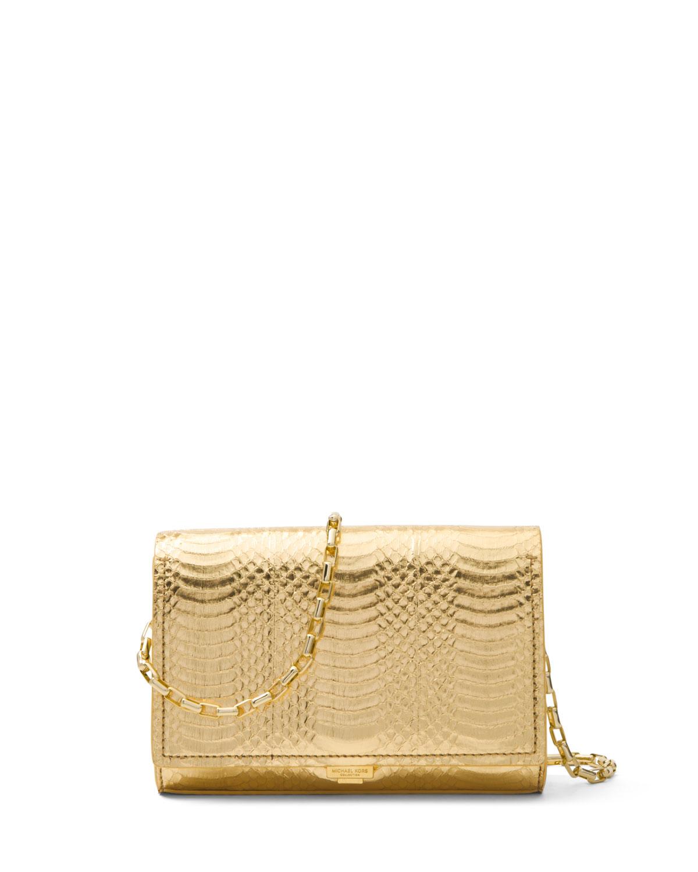 0891bc165363 Michael Kors Yasmeen Small Metallic Snakeskin Clutch Bag