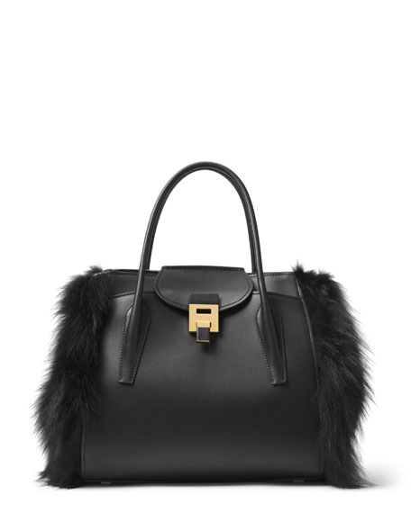 Bancroft Large Fur-Trim Satchel Bag, Black