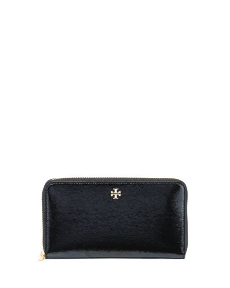 Tory Burch Robinson Patent Leather Zip-Around Continental Wallet