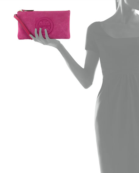 Charlie Suede Logo Clutch  Bag