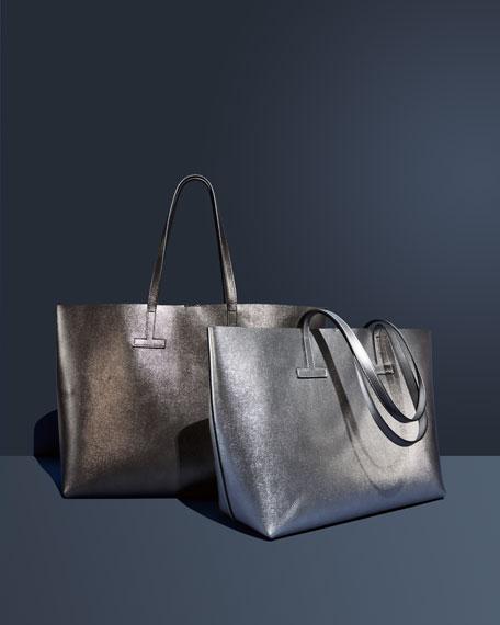 Small T Saffiano Tote Bag, Silver