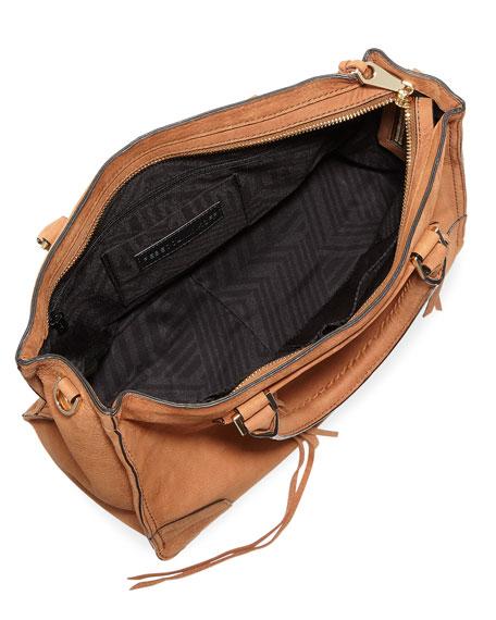 Regan Suede Whipstitch Satchel Bag