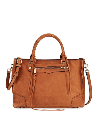 Regan Suede Whipstitch Satchel Bag