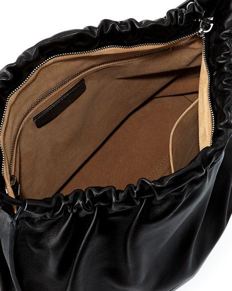 Wander Ruched Leather Shoulder Bag
