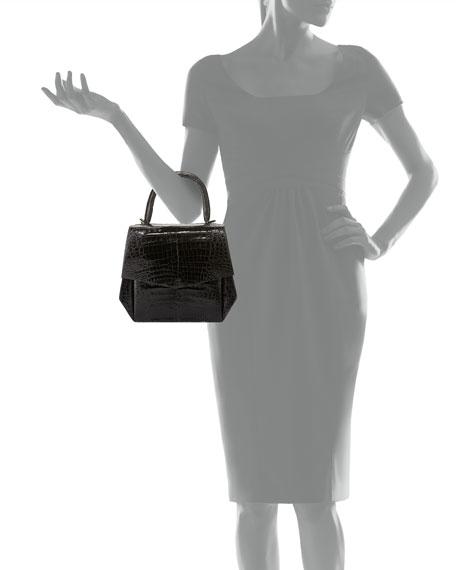 Crocodile Medium Structured Top-Handle Bag